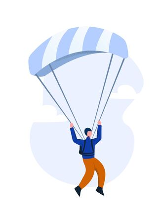 Paraglider flying on a gliding parachute. The concept of paragliding Vetores