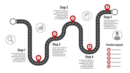 Road map with markings. Information route concept with labels