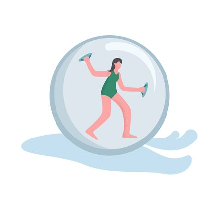 A woman engaged in zorbing. The concept of a zorbonaut