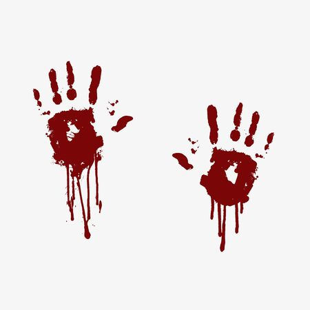 Imprints of bloody human palms with flowing blood Illustration
