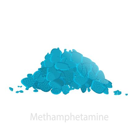 The drug is methamphetamine in the form of a pile of blue crystals