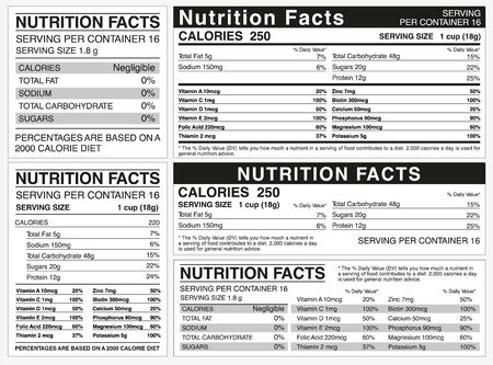 Nutrition facts table indicator of nutritional value. Counting ingredients of various saturated. Stockfoto