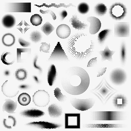 Set of halftone dot objects of different shapes. Banque d'images