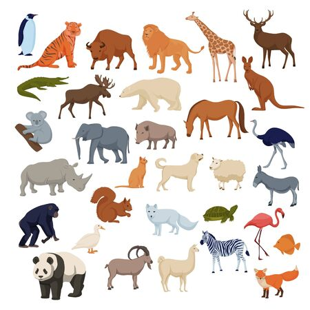 Wild home pets set. Wild animals bison elephant fox rhinoceros deer polar bear.