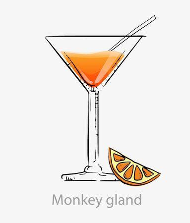 Cocktail gland monkey. Orange cocktail orange slice all day straw alcohol gin. Ilustracja