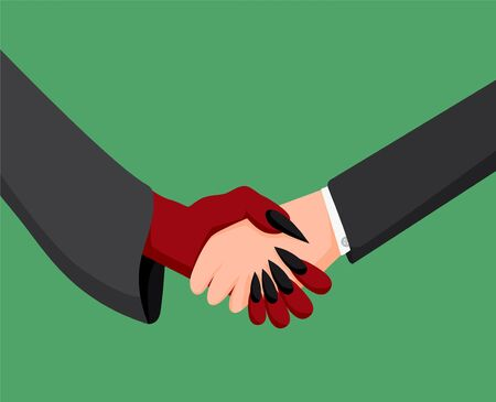 Businessman and devil handshake. Deal monetary partnership with evil businessman. Vettoriali