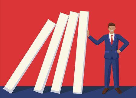 Smiling businessman stop falling domino effect vector graphic illustration Vettoriali