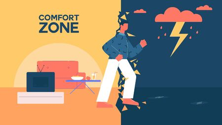 Cartoon man leave comfort zone walking to work vector flat illustration