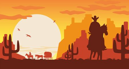 Wild west landscape silhouette. Silhouette cowboy on horse van with rider. 向量圖像
