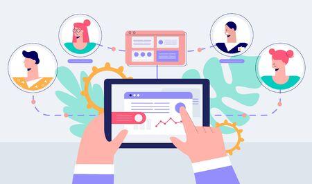 Human hands remote management of business teamwork vector flat illustration Illustration