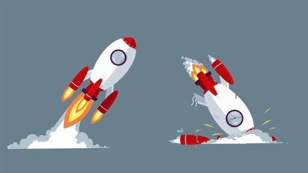 Cartoon rocket taking off and crash vector graphic illustration. Startup launch and failure