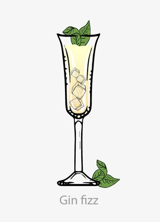 Gin fizz cocktail, Yellow cocktail with ice cubes mint leaf gin based alcohol digestif. Illustration