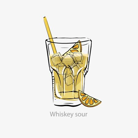 Sour whiskey cocktail. Yellow cocktail ice cubes, orange slice straw.