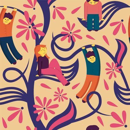 Happy cartoon people relaxing on leaf seamless pattern vector flat illustration Ilustração