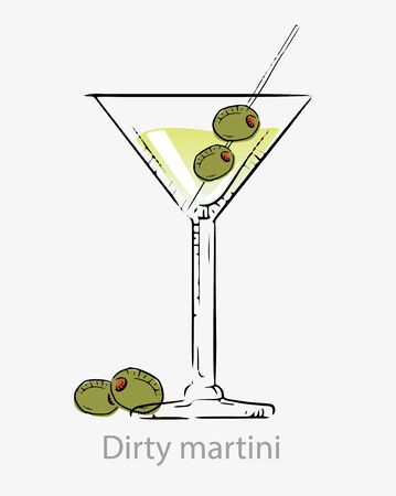 Dirty martini cocktail. Cocktail green with olives stick, alcoholic aperitif based vodka/