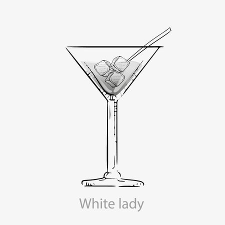 White lady cocktail. White cocktail ice cubes straws long drink alcohol gin.