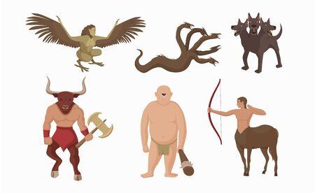 Mythical creatures greece. Ancient greek mythological characters centaur with bow minotaur battle ax.