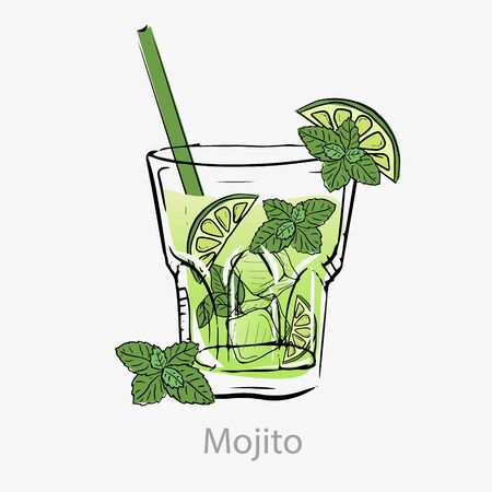 Mojito cocktail. Green cocktail slice lime straw ice cube mint leaf.