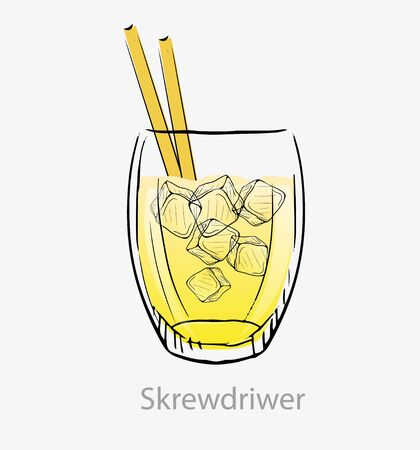 Cocktail screwdriver. Yellow cocktail ice cubes yellow straws long drink alcohol. Illustration