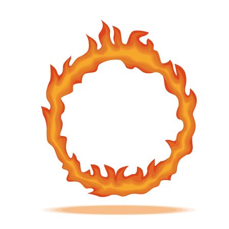 Ring of fire. Circle surrounded hot red with dancing tongue flame.