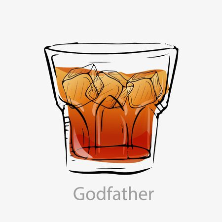 The godfather cocktail. Light orange cocktail ice cubes alcoholic digestif. Illustration