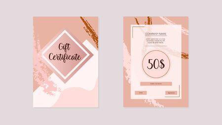 Gift certificate elegant. Modern gift invitation card pink vintage.