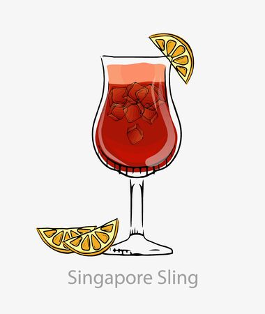 Cocktail singapore sling. Red cocktail ice cubes orange slice long drink alcohol gin.
