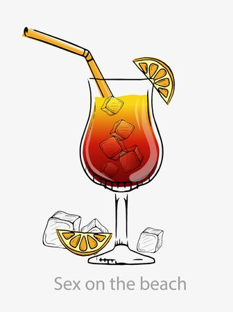 Cocktail sex on the beach. Red yellow cocktail ice cubes green straws orange slice. Illustration