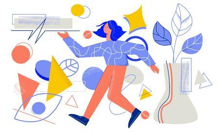 Cartoon female creative person designer surrounded by different geometric shapes flat illustration Illusztráció