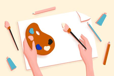 Female hands drawing picture with brush, paint and pencil vector graphic illustration