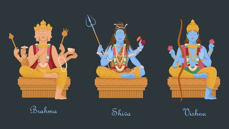 Gods of hinduism vishnu, shiva, brahma. Three main hindu deities creators of universe.