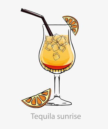 Tequila sunrise cocktail. Yellow cocktail ice cubes orange slice straws.