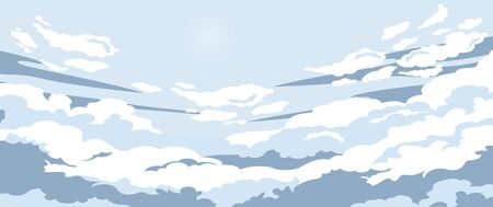 Cartoon evening sunset surrounded by clouds vector graphic illustration