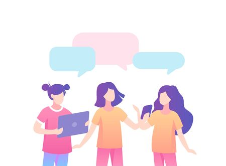Teenage girls discussing on social networks speech bubble. Girls communicate online each other talk about fashion dialogue about new vector fashionable color flat things speech bubble.