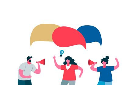 Advertising employees of new project fresh ideas speech bubble. Two women and man with speaker advertise product shout in chat about new vector idea color flat project speech bubble. Vektorgrafik