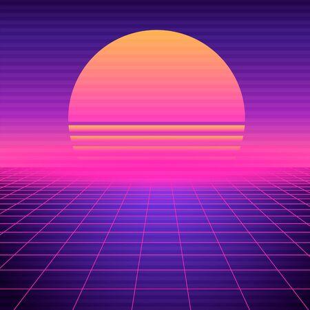 Retro futuristic background vaporwave. Neon geometric synthwave grid, light space with setting sun abstract cyberpunk design purple 80s disco fantastic vector graphic glow. Ilustración de vector
