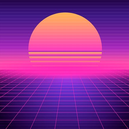 Retro futuristic background vaporwave. Neon geometric synthwave grid, light space with setting sun abstract cyberpunk design purple 80s disco fantastic vector graphic glow. Vetores
