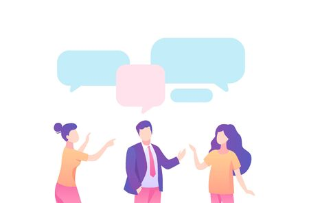 Businessman leads dialogue with family, speech bubble . Businessman discusses with his wife daughter talking about working on vector speech bubble, cartoon color style.