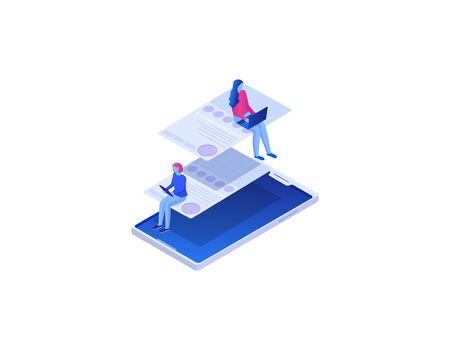 Relationships in social networks isometric illustration. Concept people on social networks, global online chat communication through community website reference entertainment vector world wide web. Stock Illustratie