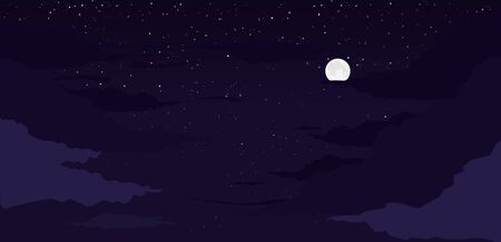 Moon night background. Luminous moon on starry sky with clouds bright fantasy shine against background full starry sky pensive vector beautiful night with light cloudy haze clipart.