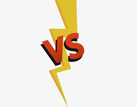 Challenge VS to battle competition. Confrontation between two strong rivals lightning strike design VS. Vetores
