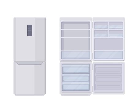 Modern refrigerator template open and closed. Stylish electronic empty fridge with no frost system large three section freezer smart control panel convenient vector flat home kitchen equipment.