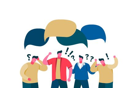 Quarrel people in chat rejection dialogue speech bubble. Group guys do not compromise, lack discus poor communication speech bubble angry color vector cartoon. Illustration