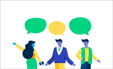 Girl communicates with guys speech bubble. Young attractive woman laying her hand to side talking with two familiar guys speech bubbles over their heads friendly vector conversation about life.