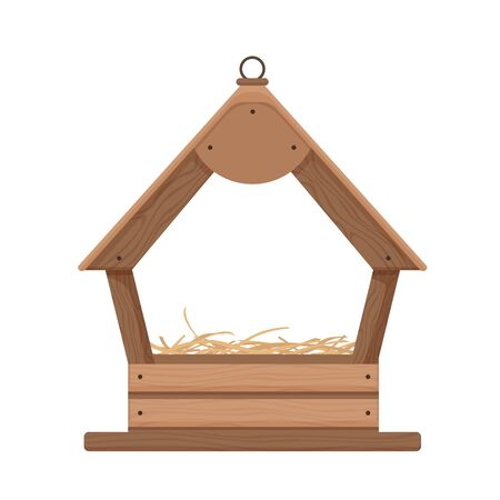 Wooden birdhouse with nest. Comfortable house frame for birds from wooden planks flooring nest handmade cartoon decorative work reliable shelter vector weather.
