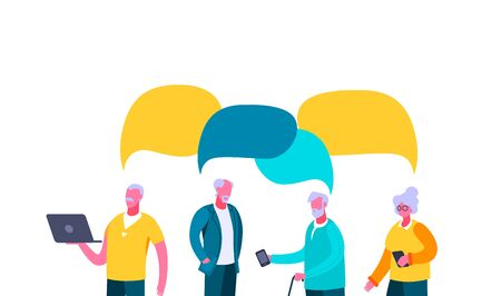 Older people chat online discuss speech bubble. Three elderly men and woman with smartphone laptop discussing web news in chat speech bubble, lively color vector flat dialog. Vettoriali