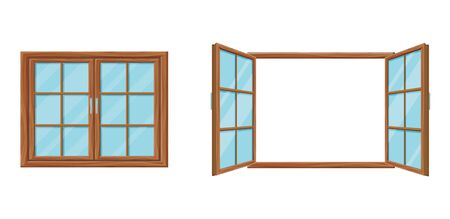 Wooden window template closed and open. Modern wooden mesh window two folding doors. Vetores