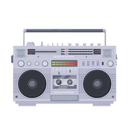 Retro boombox cassette. Old portable single cassette recorder sharpe with color vector equalizer built radio two speakers knob tuning bass sound recording playing music symbol of old school 80s.