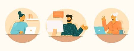 Happy work at home in quarantine. People work online man conducts video conference with two employees vector girl listens attentively to other smiling shows ok illustration is sitting at home.