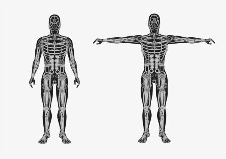 Mechanical human body. Mechanical cyborg with metal body parts artificial automaton futuristic flat design monochrome anatomy vector robot steampunk drawing of steel skeleton.